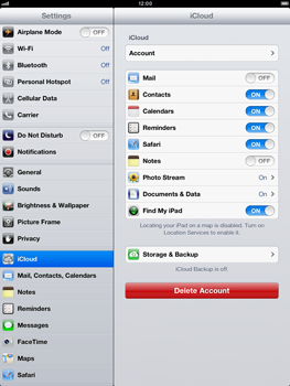 Apple iPad mini - Applications - configuring the Apple iCloud Service - Step 10