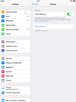 Apple iPad Air - iOS 8 - Applications - Configuring the Apple iCloud Service - Step 14