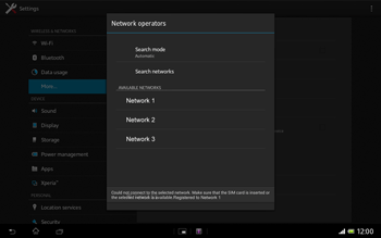 Sony Xperia Tablet Z LTE - Network - Manual network selection - Step 10