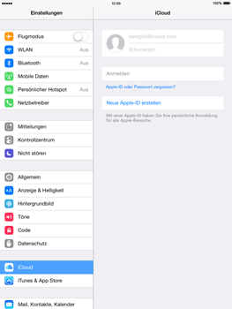 Apple iPad mini 2 - iOS 8 - Apps - Konfigurieren des Apple iCloud-Dienstes - Schritt 4