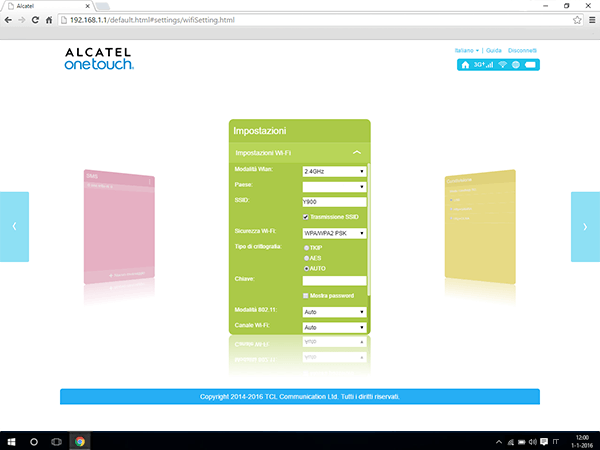 Alcatel MiFi Y900 - Impostazioni - modificare la modalità WLAN - Fase 4