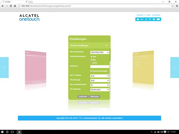 Alcatel MiFi Y900 - Einstellungen - Benutzeranzahl ändern - Schritt 8