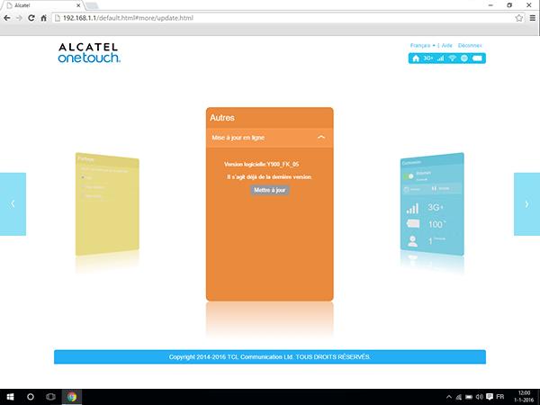 Alcatel MiFi Y900 - Logiciels - Mises à jour - Étape 5