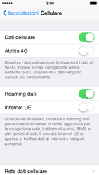 Apple iPhone 5s - iOS 8 - Internet e roaming dati - Disattivazione del roaming dati - Fase 4