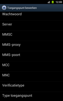 Samsung N7000 Galaxy Note - OS 4 ICS - MMS - handmatig instellen - Stap 11