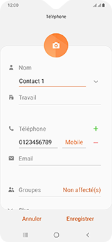 Samsung Galaxy A20e - Contact, Appels, SMS/MMS - Ajouter un contact - Étape 11