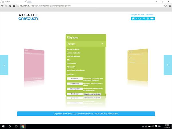 Alcatel MiFi Y900 - Paramètres - comment réinitialiser le modem - Étape 3