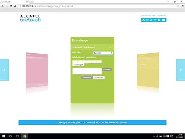 Alcatel MiFi Y900 - Einstellungen - MAC-Filter aktivieren - Schritt 6