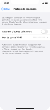 Apple iPhone XS - iOS 14 - WiFi - Comment activer un point d'accès WiFi - Étape 6