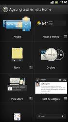 Sony Xperia S - Operazioni iniziali - Installazione di widget e applicazioni nella schermata iniziale - Fase 5