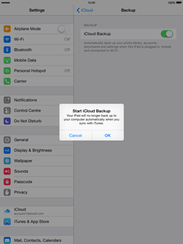 Apple iPad Air - iOS 8 - Applications - Configuring the Apple iCloud Service - Step 13