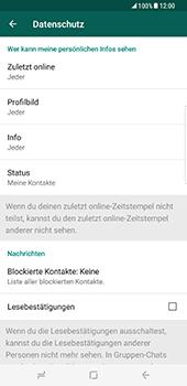 Samsung Galaxy S8 Plus - Datenschutz und Sicherheit - WhatsApp schützen und Datenschutz verwalten - 17 / 18