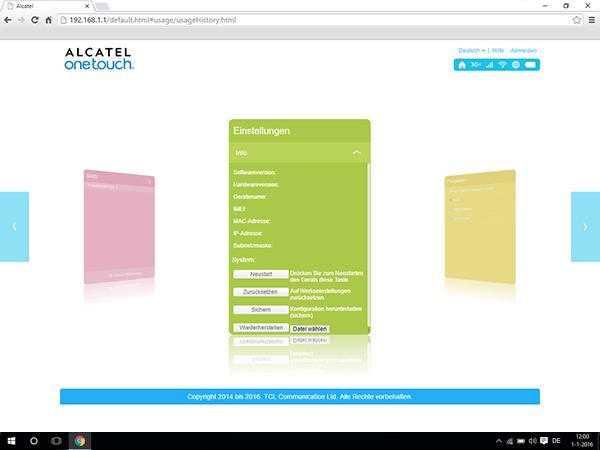 Alcatel MiFi Y900 - Einstellungen - So setzen Sie das Modem zurück - Schritt 6