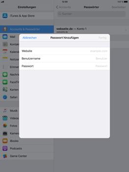 Apple iPad Air 2 - iOS 11 - Anmeldedaten hinzufügen/entfernen - 2 / 2