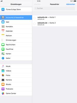 Apple iPad Air 2 - iOS 11 - Anmeldedaten hinzufügen/entfernen - 10 / 13
