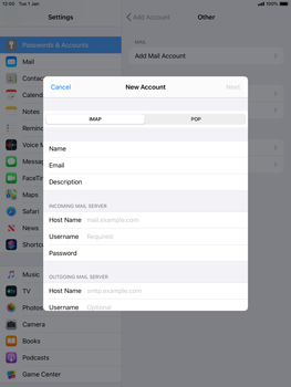 Apple iPad Air 2 - ipados 13 - E-mail - manual configuration - Step 10