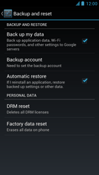 Alcatel One Touch Idol - Mobile phone - Resetting to factory settings - Step 6
