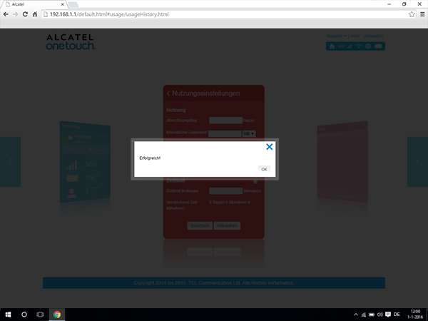 Alcatel MiFi Y900 - Einstellungen - Benutzereinstellungen ändern - Schritt 7
