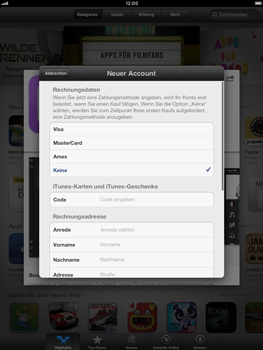 Apple iPad mini - Apps - Konto anlegen und einrichten - 1 / 1