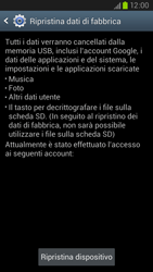 Samsung Galaxy S III LTE - Dispositivo - Ripristino delle impostazioni originali - Fase 7