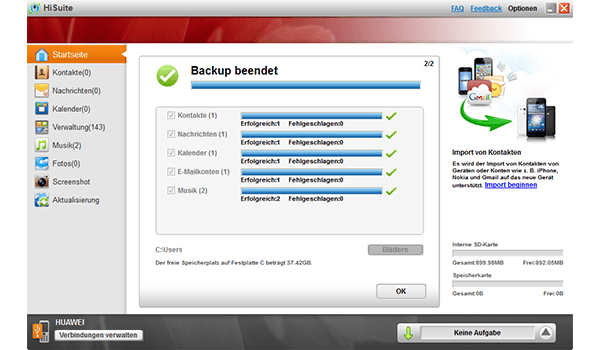 Huawei Ascend P6 - Software - Eine Sicherungskopie des Geräts erstellen - Schritt 8