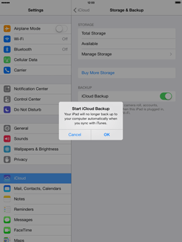 Apple iPad mini iOS 7 - Applications - configuring the Apple iCloud Service - Step 11