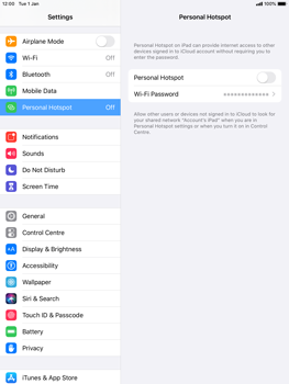 Apple iPad Mini 4 - ipados 13 - WiFi - How to enable WiFi hotspot - Step 6