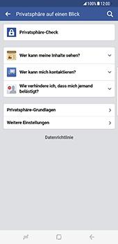 Samsung Galaxy S8 Plus - Datenschutz und Sicherheit - Datenschutzeinstellungen von Facebook ändern - 6 / 35
