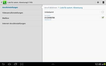 Samsung Galaxy Note 10-1 - Anrufe - Anrufe blockieren - 13 / 14