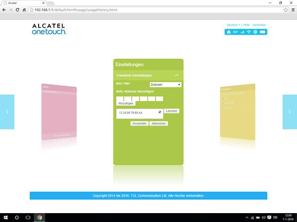 Alcatel MiFi Y900 - Einstellungen - MAC-Filter aktivieren - Schritt 8