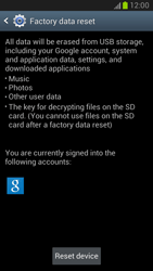 Samsung Galaxy Note II - Mobile phone - Resetting to factory settings - Step 6