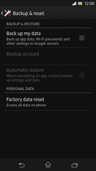Sony Xperia Z - Mobile phone - Resetting to factory settings - Step 5