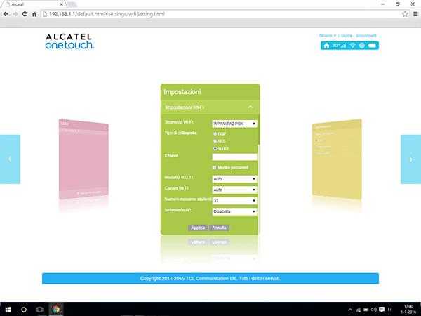 Alcatel MiFi Y900 - Impostazioni - Modificare la modalità WLAN - Fase 8