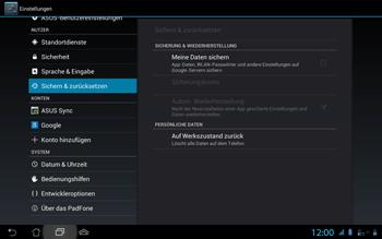 Asus Padfone 2 - Fehlerbehebung - Handy zurücksetzen - Schritt 7