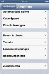 Apple iPhone 3GS - Gerät - Zurücksetzen auf die Werkseinstellungen - Schritt 4