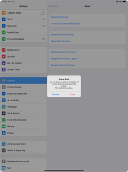 Apple iPad Pro 12.9 (2nd gen) - iPadOS 13 - Mobile phone - Resetting to factory settings - Step 7