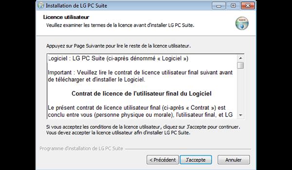 LG Spirit 4G - Logiciels - Installation du logiciel de synchronisation PC - Étape 7