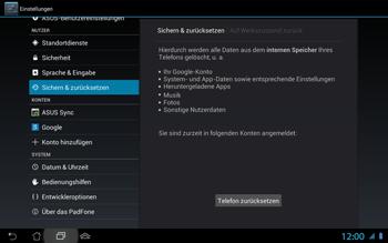 Asus Padfone 2 - Fehlerbehebung - Handy zurücksetzen - Schritt 9