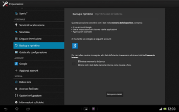 Sony Xperia Tablet Z LTE - Dispositivo - Ripristino delle impostazioni originali - Fase 7