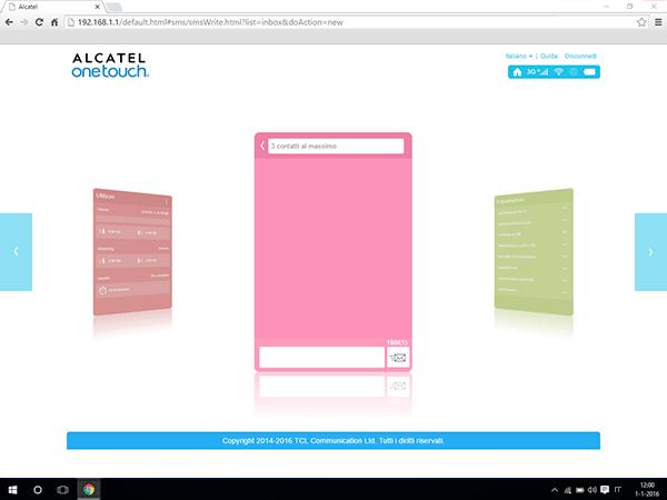 Alcatel MiFi Y900 - Impostazioni - inviare SMS - Fase 3