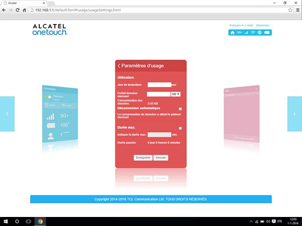 Alcatel MiFi Y900 - Paramètres - Modifier les paramètres d'utilisation - Étape 5