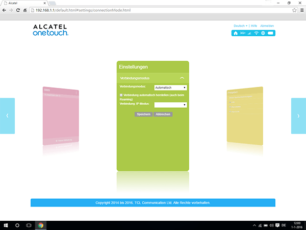 Alcatel MiFi Y900 - Internet und Datenroaming - Deaktivieren von Datenroaming - Schritt 7