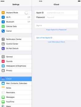 Apple iPad mini iOS 7 - Applications - configuring the Apple iCloud Service - Step 4