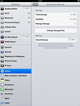 Apple iPad mini - Applications - configuring the Apple iCloud Service - Step 12