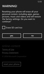 Nokia Lumia 630 - Device - Factory reset - Step 7