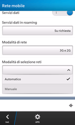 BlackBerry Z10 - Rete - Selezione manuale della rete - Fase 7