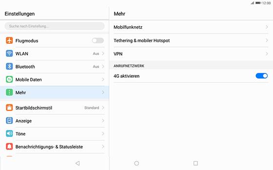 Huawei MediaPad T3 (10.0) LTE - Netzwerk - Netzwerkeinstellungen ändern - 5 / 8