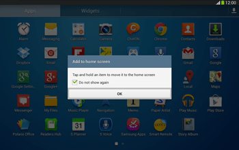 Samsung Galaxy Tab 3 10-1 LTE - Getting started - Installing widgets and applications on your start screen - Step 5