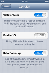 Apple iPhone 3GS - Internet and data roaming - disabling data roaming - Step 5