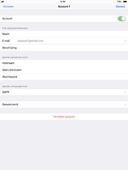 Apple iPad Pro 10.5 inch - iOS 11 - E-mail - Account instellen (POP3 met SMTP-verificatie) - Stap 21